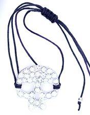 Adjustable silver and clear crystal skull rope bracelet