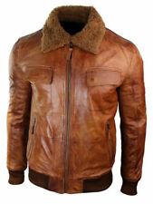 Mens Biker Bomber Rust Tan Brown Removable Fur Collar Real Leather jacket