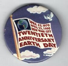 EARTH DAY 1990 pin 20th ANNIVERSARY New York City Globe