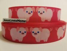 "Grosgrain Ribbon Pink Pigs Blue Eyes on Hot Pink Background Pig Hog Farm 7/8"""