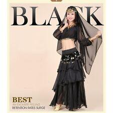 Belly Dance Costume  Full Skirt  Long Sleeves Top  Belt and Head Veil