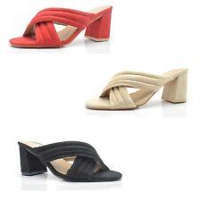 Women's ladies Suede sandals block high heel mules party sandals slip on 3000-5