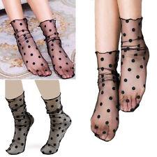 1-4 Pairs Black Sheer Thin Polka Dots Mesh Ultra Thin Over Ankle Hi Soft Socks