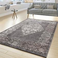 Moderner Teppich Wohnzimmer Teppiche Hoch Tief Struktur Ornamente In Grau Beige