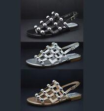 Scarpe estive donna sandali aperti con tacco basso comodo e borchie sandalo