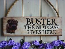 Drôle en bois signe chien signe shar pei signe jardin porte clôture maison plaque nom propre