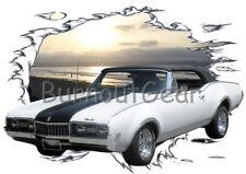 1968 White Oldsmobile Convertible Custom Hot Rod Sun Set T-Shirt 68 Muscle Car T