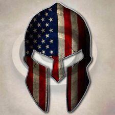 Spartan Helmet American Flag Sticker Patriotic USA Warrior Decal Union Stars