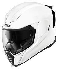 ICON MotoSports AirFlite Full-Face Helmet w/ Dropdown Sun Visor (Gloss White)