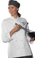Edwards Garment Women's Sewn Ten Button Placket Long Sleeve Chef Coat. 6301
