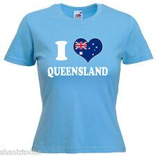 I Love Queensland Australia Ladies Lady Fit T Shirt 13 Colours Size 6 - 16