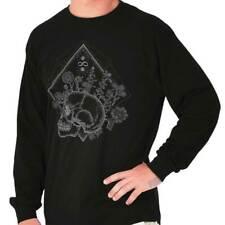 Floral Skull Shirt Flower Mystic Skeleton Spirit Animal Gift Long Sleeve T Shirt
