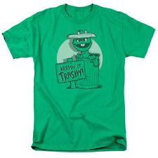 Sesame Street Keepin It Trashy Mens Short Sleeve Shirt Kelly Green