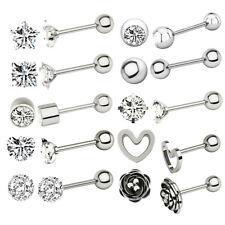 Earring Women Prong Body Piercing Jewelry 2Pcs Tragus Zircon Ear Stud Cartilage