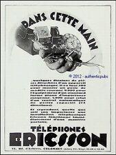 PUBLICITE  TELEPHONE ERICSSON APPAREIL TELEPHONIQUE COLOMBES DE 1930 FRENCH AD