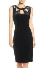 ELIZA J® 8-16 Black Velvet Cutout Sheath Dress NWT $148