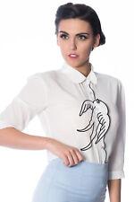 Women's White Swallows Bird Retro Vintage Blouse Shirt By Banned Apparel