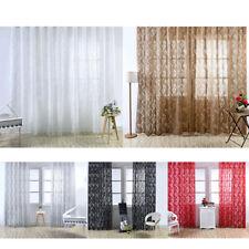 PAIR (2 panels) Door Window Curtain Bubble Leaf Tulle Voile Drape 100x270cm