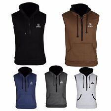 XXR Plain Hoodie Sleeveless Gym Top Sweat Shirt Fleece Hood Fitness Exercise