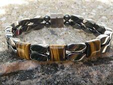 Men Woman Magnetic Hematite Bracelet Anklet 2 Row Brown Tiger Eye 3 Stone Series