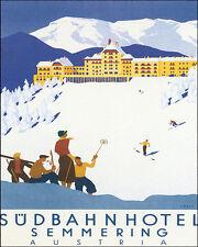POSTER AUSTRIA SEMMERING SKI WINTER SPORT ALPINE SKIING VINTAGE REPRO FREE S/H