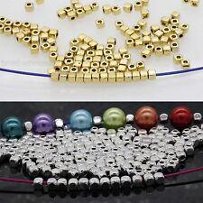 100/500pcs Cube Argent Tibétain Perle Intercalaire Argent/Or pour Bijoux 3.5x3mm
