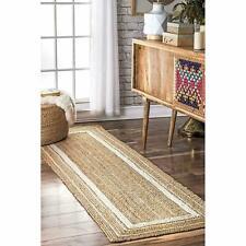Jute Rug Runner Handmade Braided style rug Reversible rustic look Natural Rug