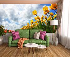 3D Jaune Tulipe 3 Photo Papier Peint en Autocollant Murale Plafond Chambre Art