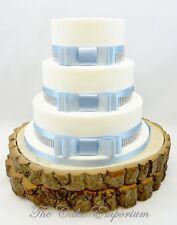WEDDING CAKE BOW SET  – SATIN COLOUR RIBBON  / SILVER DIAMANTE TRIM CAKE TOPPER