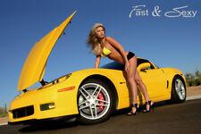 2006 Corvette Z06 Fast & Sexy Poster hot models Chevy C6 muscle cars bikini girl