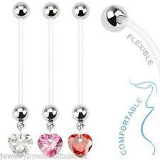 Navel - Fsn   Maternity Belly Ring  Retainer  .  Bio Flex  .  Heart Dangle