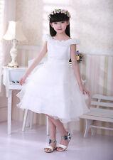 Girls Kids Long White Flower Girl Wedding Bridesmaid Party Christening Dress UK