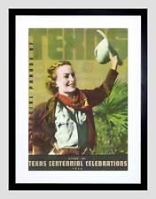 TRAVEL TEXAS CENTENNIAL 1936 COWGIRL CELEBRATIONS FRAMED ART PRINT B12X7900