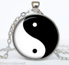 Black & White Chinese Yin / Ying Yang Feng Shui Charm Pendant Necklace Yingyang