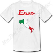 T-shirt Enfant Carte Italie avec Drapeau avec Prénom Personnalisé
