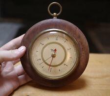"""Vintage Taylor Barometer Brass Glass Mahogany Wood Frame 5.25"""" Wide"""