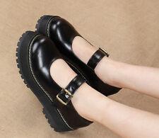 Women Flats Platform Mary Jane Retro Buckle Round Toe Oxford College Dress Shoes