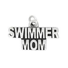 Sterling Silver Swimmer Mom Charm Pendant