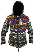 Men Knitted Chunky Wool Fleece Lined Jacket Winter Hippie Boho Festival Jumper