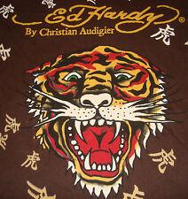 ED HARDY TIGER T-SHIRT Brown Christian Audigier TEE Shirt Top Logo Asian Print