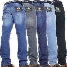 Mens Bootcut Leg Jeans Flared Regular Stretch Basic Work Denim Pants *FREE BELT*