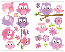 19-teiliges Pinke Baby Eulen Wandtattoo Set Kinderzimmer Babyzimmer 3 Größen