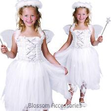 CSW39 Girls Kids White Angel Christmas Fancy Dress Up Costume Wings Halo Fairy