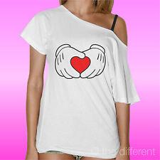 T-Shirt Donna Barca Mani Topolino Cuore Idea Regalo San Valentino