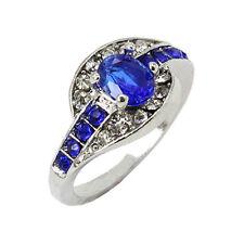 Anello in oro bianco con zaffiro donna zaffiro misura 7 8 9 gioielli ad anello**