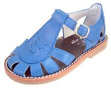 DE OSU 3468 - Boys/Girls' Blue Leather European Fisherman Sandals - Sizes 4.5-10