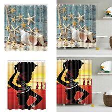 Fashion Waterproof Bath Curtains Beach Shells /African Woman Shower Curtain