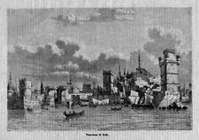 Stampa antica RODI veduta panoramica Grecia 1870 Old Print Greece