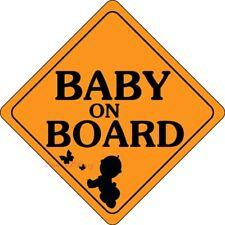 "Baby on board Car Sticker Decal Vinyl size 6.9"" X 6.9'' Orange White Red Canada"