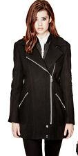 NIB GUESS $178 Antonia Wool blend Zip Flare Coat Jacket Back S 4 5